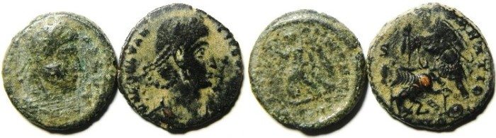 Ancient Coins - LOT OF TWO ROMAN AE 3 COINS