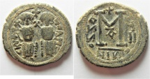 Ancient Coins - ISLAMIC. Ummayad Caliphate. Arab-Byzantine series AE fals (27mm, 8.23g). Baysan-Scythopolis mint. After AD 641.