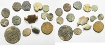 LOT OF ISLAMIC SILVER AND AE COINS & ITEMS. 14 PCS. VARIOUS DYNASTIES