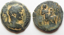 Ancient Coins - Egypt. Alexamdria. Hadrian AE Diobol with Isis nursing Horus