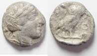Ancient Coins - GREEK. Attica, Athens. AR Tetradrachm (15.89gm , 24mm). Struck c. 454-404 BC.