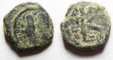 Ancient Coins - BYZANTINE, JUSTIN II AS FOUND. AE HALF FOLLIS