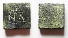 Ancient Coins - ANCIENT BYZANTINE BRONZE WEIGHT. 600 - 700 A.D. 4 NUMISMATA. 16.29GM