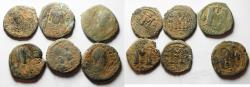 Ancient Coins - LOT OF 6 BYZANTINE AE FOLLIS COINS