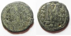 Ancient Coins - BYZANTINE. JUSTIN II AE FOLLIS