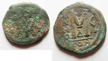 Ancient Coins - BYZANTINE. JUSTIN II & SOPHIA. AE FOLLIS. NEEDS CLEANED