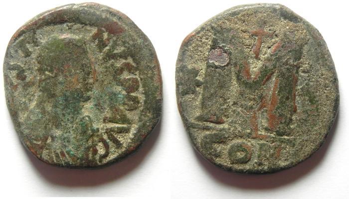 Ancient Coins - JUSTIN II AE FOLLIS
