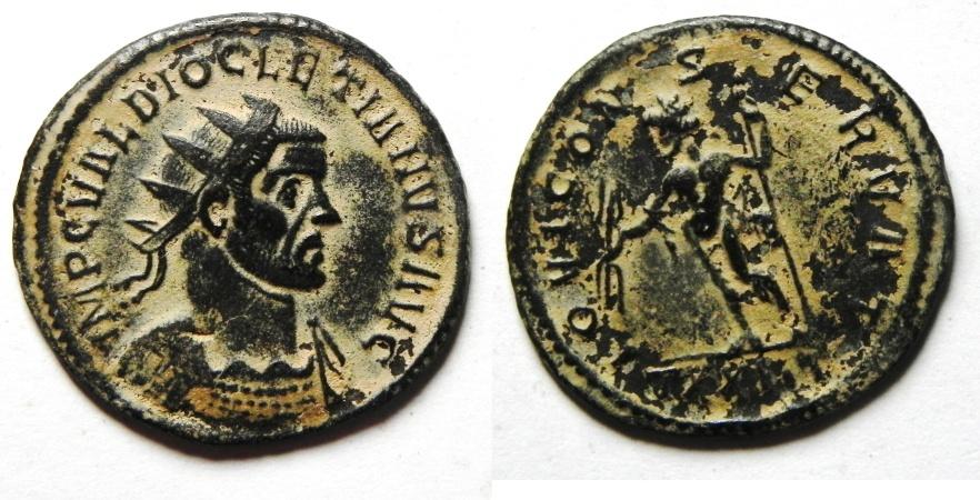 Ancient Coins - Diocletian AE Antoninianus , Scarce