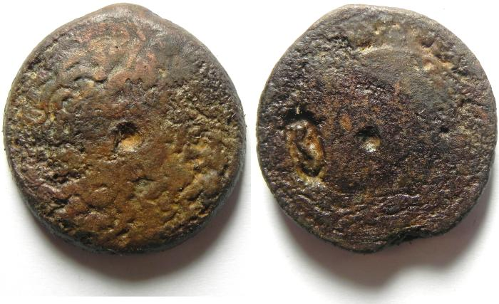 Ancient Coins - PTOLEMAIC KINGDOM , PTOLEMY IV AE 35 , 38.54 GM , COUNTERMARKED