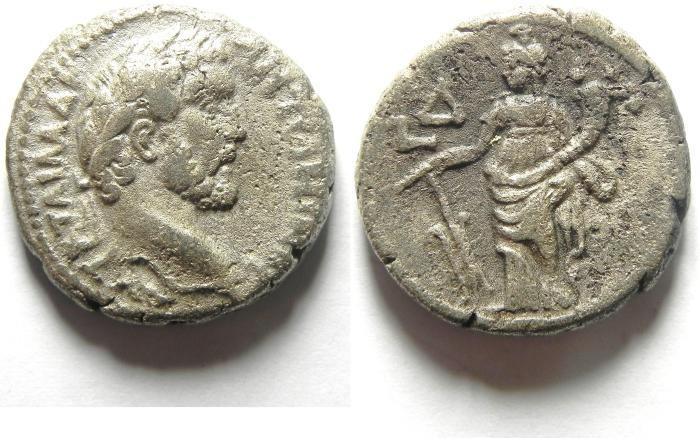 Ancient Coins - Roman Egypt : Antoninus Pius 138-161 AD Billion Tetradrachm , tyche , year 4