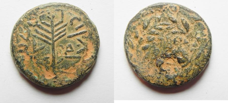 Ancient Coins - Judaea. Herodian dynasty. Herod Antipas (4 BCE-39 CE). AE half unit (24mm, 10.85g). Tiberias mint. Struck in regnal year 34 (30/31 CE).