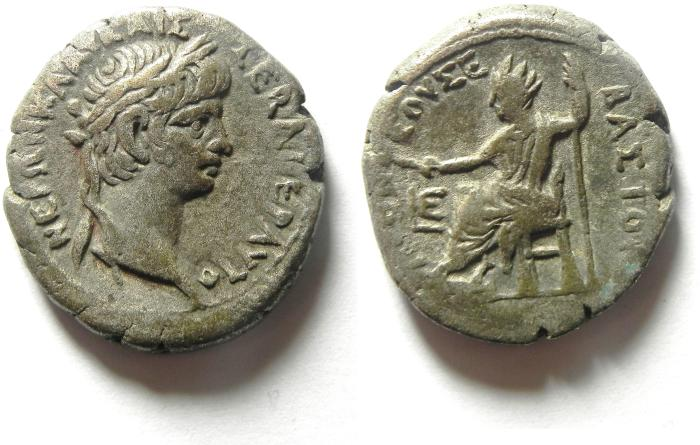 Ancient Coins - Egypt, Alexandria, Nero, AD54-68, Billon Tetradrachm, EMPEROR ENTHRONED , BEAUTIFULL
