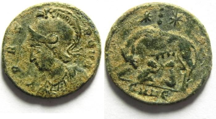 Ancient Coins - CONSTANTINE I CITY COMMEMORATIVE AE 3 , very high quality as found!