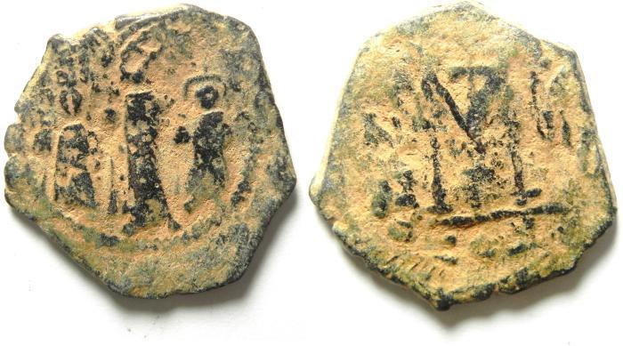 Ancient Coins - BYZANTINE , HERACLIUS AE FOLLIS , NICE DESERT PATINA