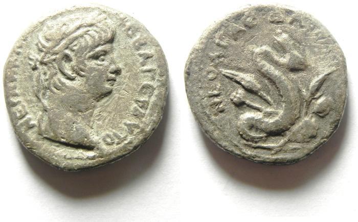 Ancient Coins - EGYPT , ALEXANDRIA , NERO AR TETRADRACHM , RARE REVERSE OF AGATHODAEMON
