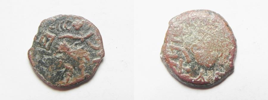 Ancient Coins - JUDAEA. JEWISH WAR AE PRUTAH