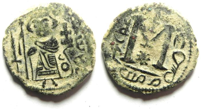 Ancient Coins - Arab-Byzantine. Dimashq mint. AE 20 - LOOK AT THE DETAILS OF CALIPHA DRESS!!!!!!