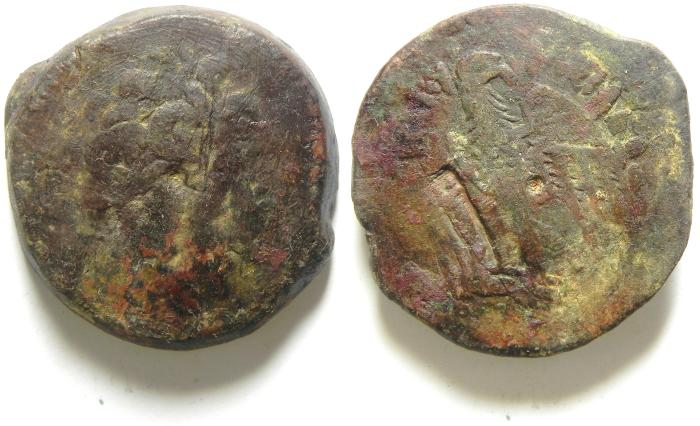 Ancient Coins - PTOLEMAIC KINGDOM , PTOLEMY IV AE 35 , 45.78 GM , COUNTERMARKED
