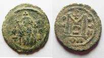 Ancient Coins - ISLAMIC. Ummayad caliphate. Uncertain period (pre-reform). AH 41-77 / AD 661-697. Arab-Byzantine series. AE fals. DAMASCUS MINT