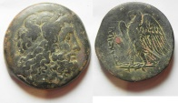 Ancient Coins - RARE: GREEK. Ptolemaic Kings. Ptolemy III Euergetes (246-222 BC). AE tetrobol (38mm, 47.12g). Sidon mint.