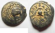 Ancient Coins - Judaea, Herod I. 40-4 BC. AE 4 Prutot.