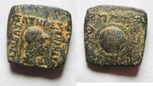 Ancient Coins - GREEK. Indo-Greek Kings. Menander I (c. 165/55-130 BC). AE square quadruple unit (21mm, 8.26g).