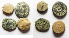 Ancient Coins - LOT OF 3 NABATAEAN AND 1 SELEUKID BRONZE COINS. TOTAL : 4
