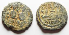Ancient Coins - BYZANTINE EMPIRE. JUSTIN II & SOPHIA BRONZE FOLLIS