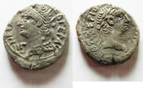 Ancient Coins - EGYPT, Alexandria. Nero. 54-68 AD. Billon Tetradrachm With Bust Of Tiberius
