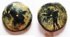 Ancient Coins - OVER-STRUCK ON A PTOLEMY AE : NABATAEAN. ARETAS II OR III DAMASCUS MINT. AE 17