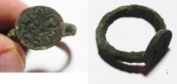 Ancient Coins - BYZANTINE BRONZE RING WITH ST. GEORGE. 10-11TH CENT. A.D. CHARGING ON HORSE BACK.