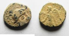 Ancient Coins - ORIGINAL DESERT PATINA: NABATAEAN KINGDOM. ARETAS II / III AE 15