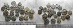 Ancient Coins - LOT OF 20 ANCIENT BRONZE COINS. MOSTLY JUDAEAN PRUTOT