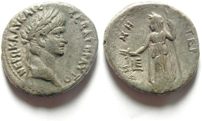 Ancient Coins - 26MM , 12.97 GM  Egypt, Alexandria, Nero, AD54-68, Billon Tetradrachm , DEMETER STANDING L. , YEAR 5 , SCARCE