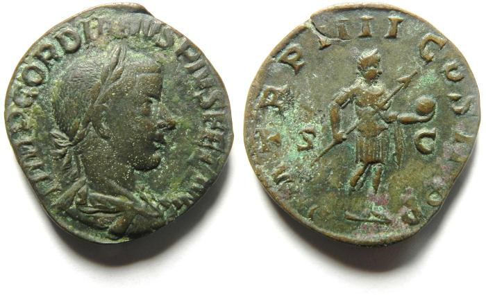 Ancient Coins - Gordian III Æ sestertius, Rome, AD 241–243.