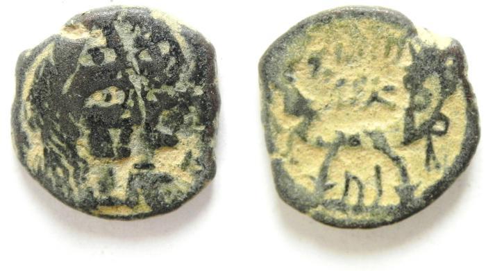 Ancient Coins - NABATAEAN KINGDOM OF PETRA , ARETAS IV & SHAQUELAT , AE 18  OBVERSE DOUBLE STRUCK