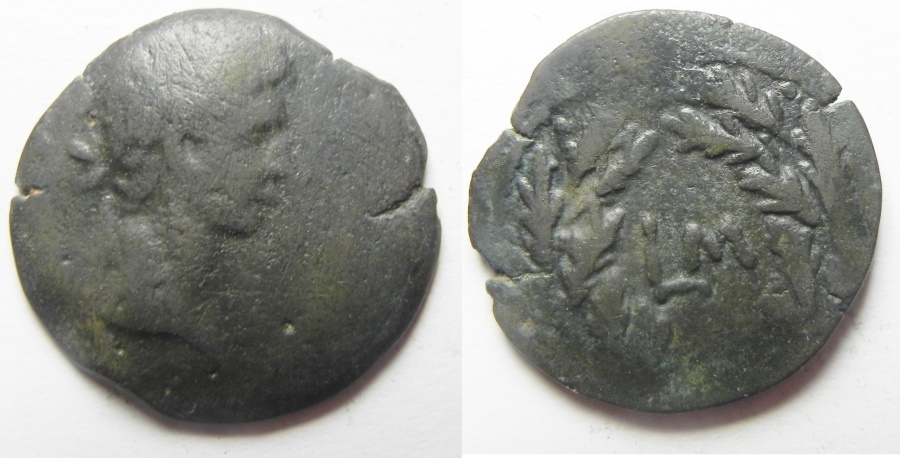 Ancient Coins - Egypt. Alexandria under Augustus (27 BC-AD 14). AE diobol (24mm , 6.37g). Struck in regnal year 41 (AD 10/11).