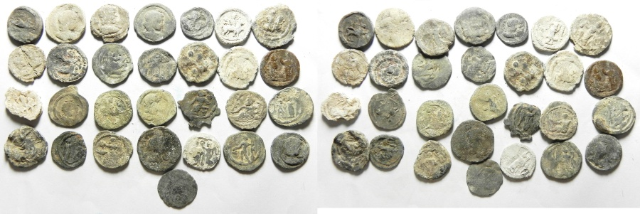 Ancient Coins - Roman Egypt  - well preserved group of 29 lead tesserae  including Antinous . the favorite of the emperor Hadrian