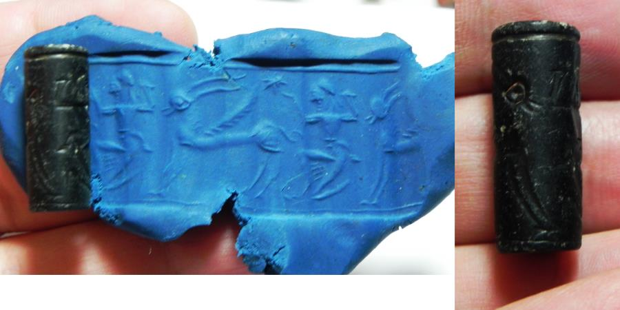 Ancient Coins - ANCIENT HOLY LAND. STONE CYLINDER SEAL. 1ST MILLENNIUM B.C