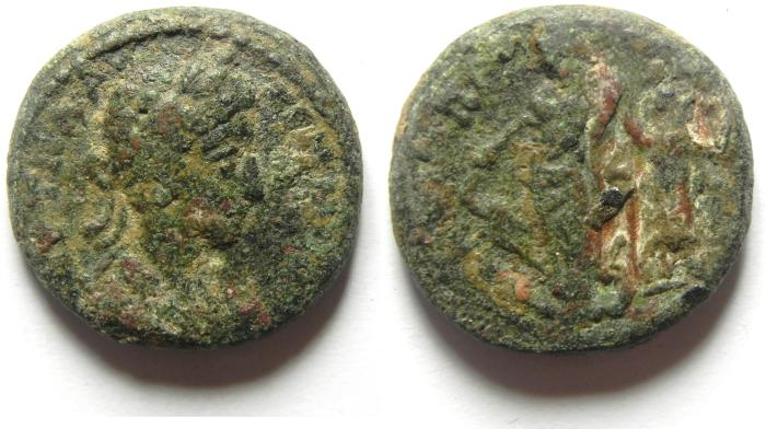 Ancient Coins - DECAPOLIS , GERASA, COMMODUS. AE 22 , VERY NICE AND SCARCE COIN, AS FOUND!!