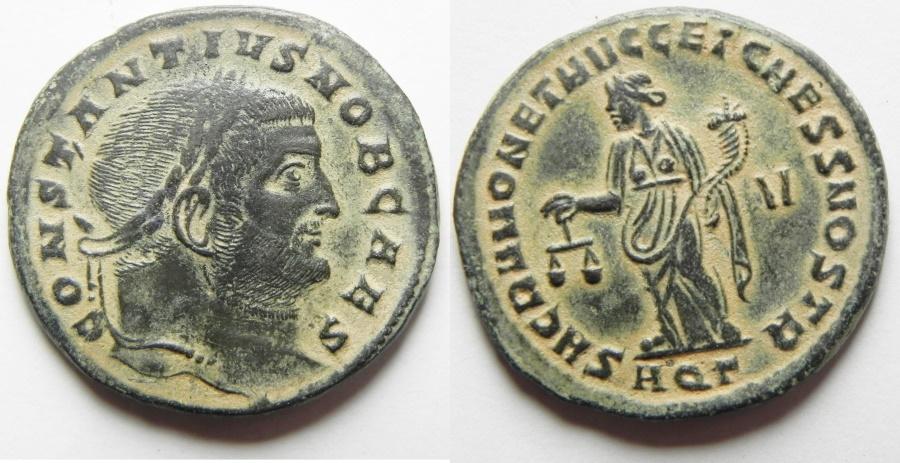 Ancient Coins - Constantius I. As Caesar Æ Follis. Aquileia