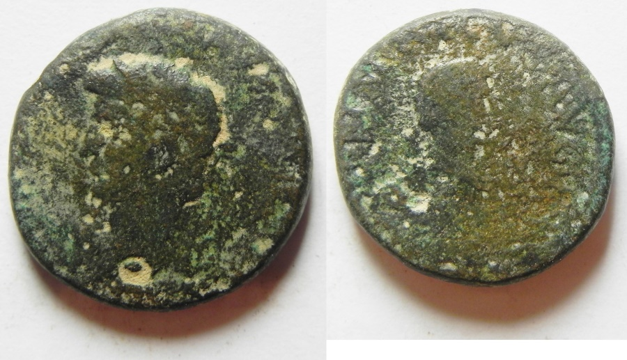 Ancient Coins - Judaea. Caesarea Panias under Claudius (AD 41-54). AE 18