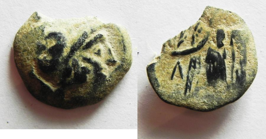 Ancient Coins - NABATAEAN KINGDOM. ARETAS II/III AE 18. OVER-STRUCK ON A PTOLEMY COIN