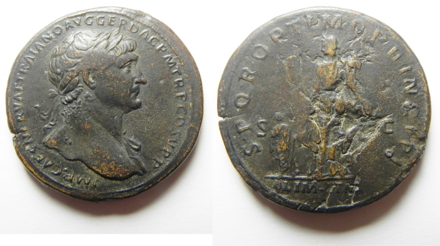 Ancient Coins - ROMAN IMPERIAL. Trajan (AD 98-117). AE sestertius (33mm, 25.15g). Rome mint. Struck c. AD 112-113