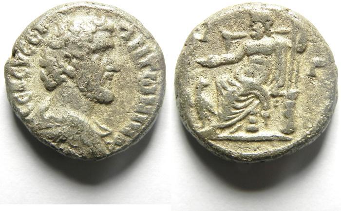 Ancient Coins -   Roman Egypt : Antoninus Pius 138-161 AD Billion Tetradrachm , ZEUS SEATED ON THRONE  HOLDING PATERA & SCEPTRE , RARE!! YEAR 13