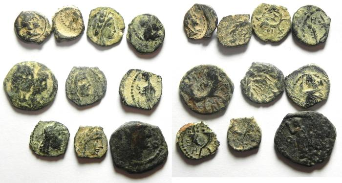 Ancient Coins - NABATAEAN - STARTER COLLECTION OF 10 DIFFERENT AE COINS OF ARETAS IV , NICE!