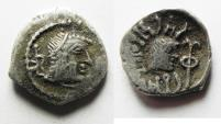 Ancient Coins - SOUTH ARABIA. Himyarite Kingdom. Tha'ran Ya'ub (c. AD 175-215). AR unit (14mm, 1.74g). Raydan mint.
