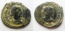 Ancient Coins - AS FOUND. NICE DESERT PATINA: AURELIAN & VABALATHUS AE ANTONINIANUS