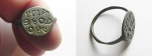 "Ancient Coins - LATE ROMAN/BYZANTINE AE ring (19x15mm). Bezel inscribed in Greek: VΓIA ѲEOΔOPE (""Health to Theodora"")."