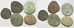 Ancient Coins - ARAB-BYZANTINE LOT OF 5 AE COINS AS FOUND